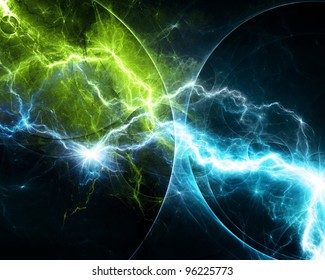 Blue and green abstract lightning storm