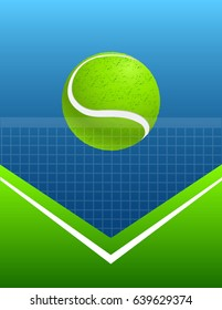 blue and green abstract tennis background with ball.