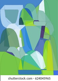 Blue and Green Arc Shapes Abstract Composition