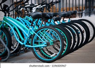 Blue and Green beach cruiser style bicycles lined up in a row in Florida