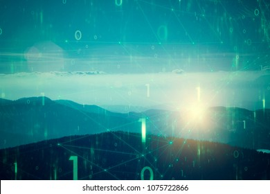 Blue green colored hilly landscape with artistic binary numbers network cyberspace background.