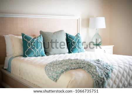 Blue Green Decorative Throw Pillows On Stock Photo Edit Now