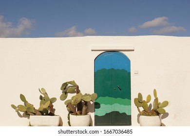 Blue and green door with cactus with traditional white walls and sky in Ostuni, Italy - The gorgeous white city with old historic center on the hill and beside the sea