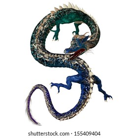 Blue Green Dragon - A creature of myth and fantasy the dragon is a fierce monster with horns and large teeth.
