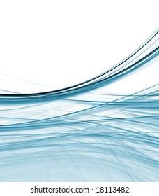 Blue green fibers in gentle curve with copy space - fractal abstract background