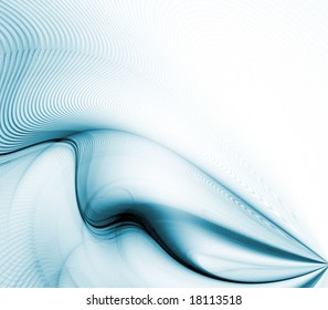 Blue green, folding fibers in ripples and waves with copy space - fractal abstract background