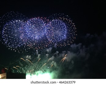 Blue green and gold aerial fireworks show