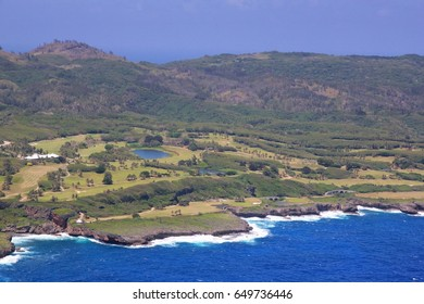 Blue and green golf courses and mountain view, Saipan Saipan's east coastal areas boast of lush scenery, golf courses with steep cliff lines and the Pacific Ocean.