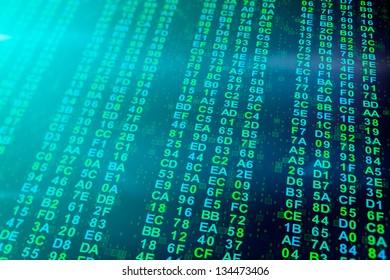 blue green hexadecimal data columns background