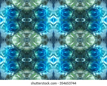 Blue and green intricate seamless abstract geometric pattern imitating glitter of jewelry or light in water