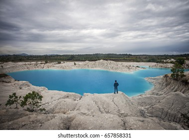 Blue and Green Kaolin Lake in Bangka, Bangka Belitung, Indonesia