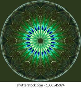 Blue green mandala abstract art different round abstract art circle heart flower start yellow aqua pretty colorful