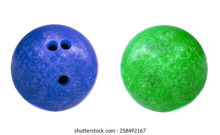 blue and green marbled bowling balls isolated