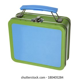 Blue and green metal tin lunchbox on white
