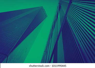 Blue and green modern buildings background New York City