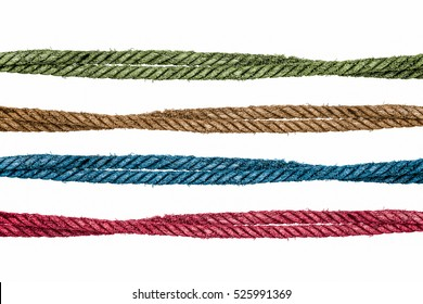 Blue, green, red and brown clour ropes on white background