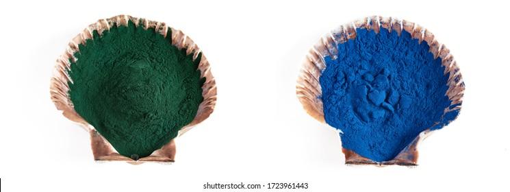Blue and green Spirulina algae powder, healthy dietary supplement.