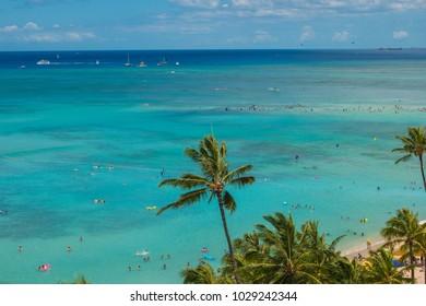 Blue Green Water of Waikiki Beach Hawaii