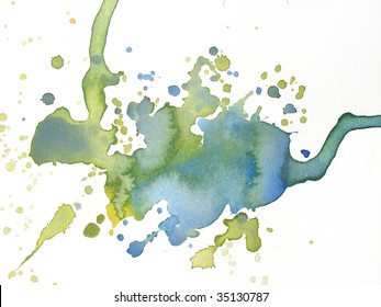 blue and green watercolor splash background