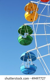 Blue, green and yellow ferris wheel carriages