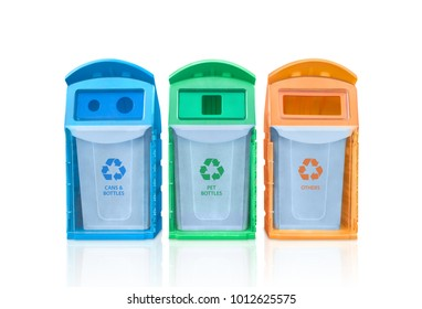 blue, green and yellow recycle bins with recycle symbol isolated on white background