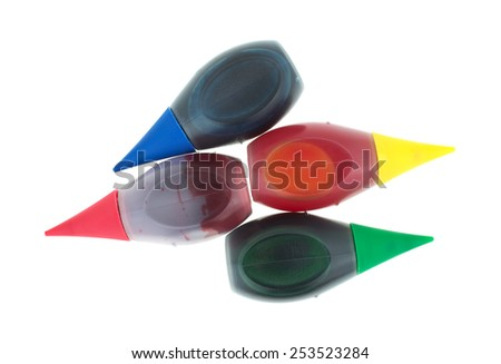 Blue Green Yellow Red Food Coloring Stock Photo (Edit Now) 253523284 ...