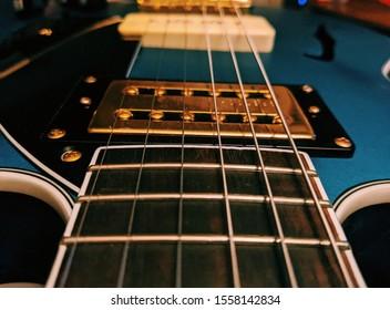 Blue Gretsch Guitar Close Up
