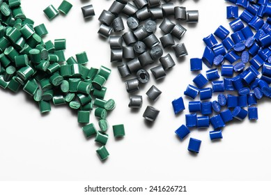 blue, grey and green plastic granulate for injection molding