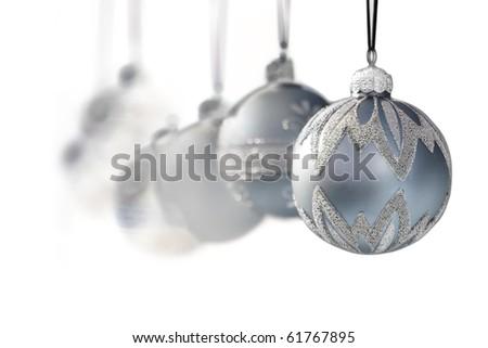 blue grey luxury christmas ornaments on white background narrow dof - Blue Grey Christmas Decorations