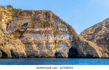Blue Grotto caves in the coast of the island of Malta.