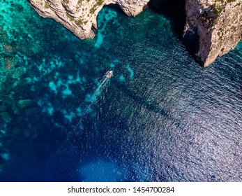 Blue Grotto in Malta. Aerial top view from Mediterranean Sea.