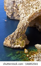 Blue Grotto on the isle of Malta in the Mediterranean.