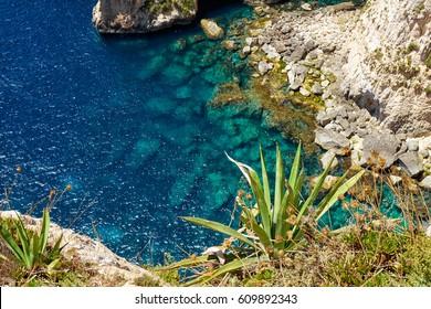 Blue Grotto - one of nature landmarks on Malta island
