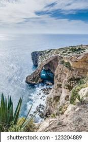 Blue Grotto (Taht il-Hnejja) cavern on the southern coast of Malta, near the village of Zurrieq.