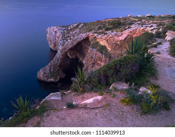 Blue Grotto.Natural arch in Malta