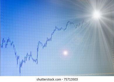 blue growing forex stock  chart on blue background on monitor of terminal is going to bright light in the end