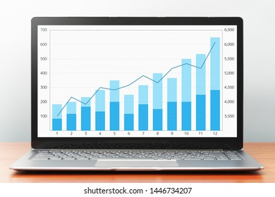 Blue growth graph on laptop screen. Laptop computer on wooden desk.