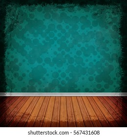 Blue grunge background. Old abstract vintage texture with frame and border. 3D illustration