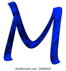 blue grunge font - letter m