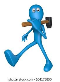 blue guy with big hammer - 3d illustration