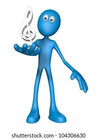 blue guy and clef symbol - 3d illustration
