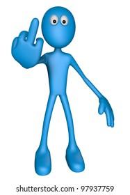 blue guy shows his middle finger - 3d illustration