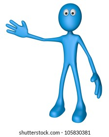 blue guy shows something - 3d illustration