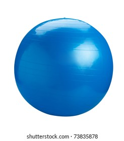 Blue gym ball great for your exercise isolated on white background