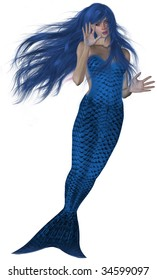 Blue haired and tailed mermaid swimming