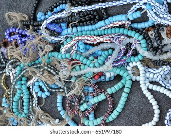 Blue hand made beads for sale