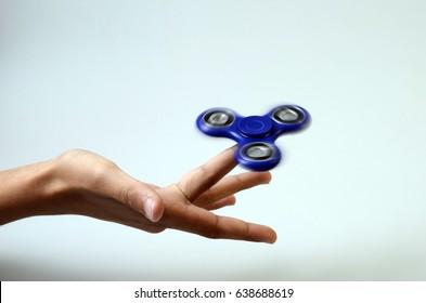 Blue Hand spinner, fidgeting hand toy