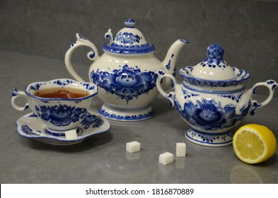 Blue handmade porcelain teapot surag bowl and cups