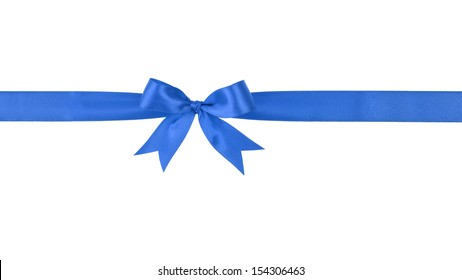 blue handmade ribbon with bow, isolated on white