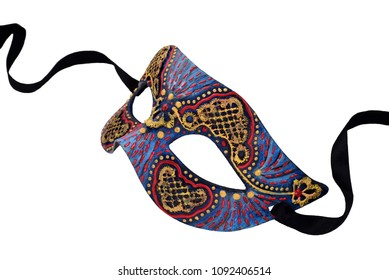 Blue handmade Venetian Carnival half mask with ribbon. Made papier mache, acrylic paints and embroidery